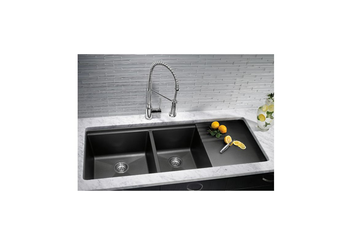 ... Precis Double Multilevel Basin Kitchen Sink with Drainer 48