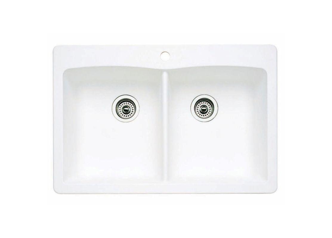Blanco 440221 White Diamond Equal Double Basin Silgranit