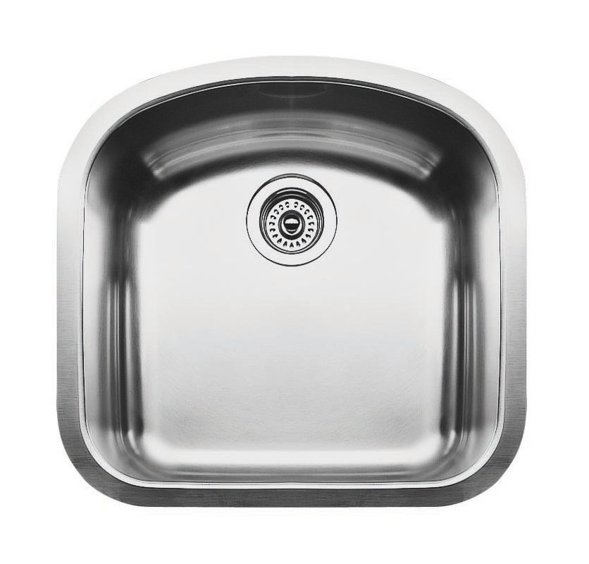Blanco 440164 Satin Polished Wave Single Basin Stainless Steel Kitchen ...