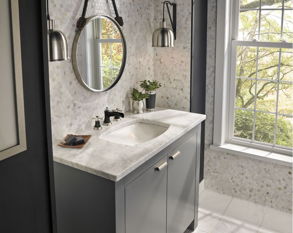 7 Faucet Finishes For Fabulous Bathrooms: 65360LF-NKBLLHP In Luxe Nickel/Matte Black By