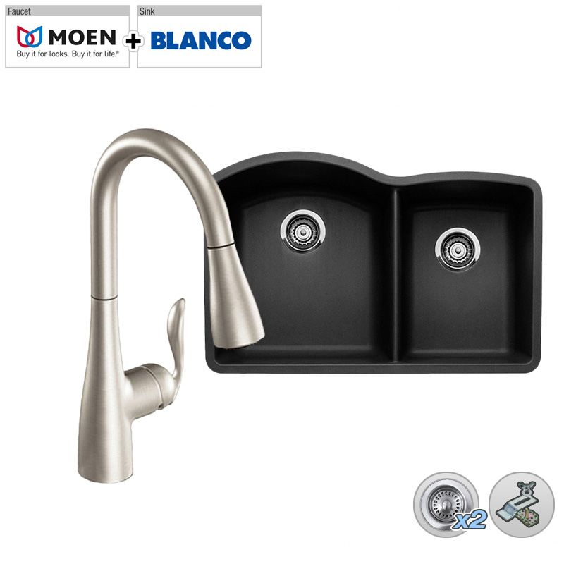 Smart Kits B440179/M7594SRS Spot Resist Stainless Faucet Combo: Blanco ...