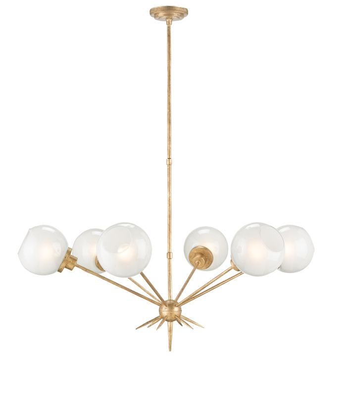 Currey And Company Warranty: Currey And Company 9515 Washed Gold Leaf Shelly 6 Light