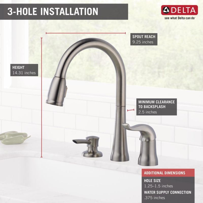 faucet com 16970 sd dst in chrome by delta delta kate single handle deck mounted kitchen faucet with