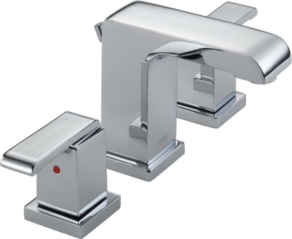 Delta Dryden Polished Nickel 2 Handle Widespread: Delta 3586LF-MPU Chrome Arzo Widespread Bathroom Faucet