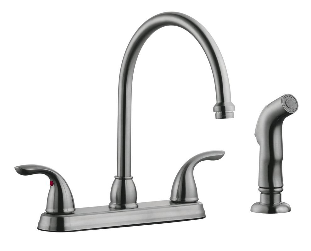 Design House 525089 Satin Nickel Double Handle Kitchen Faucet With Metal Lever Handles And
