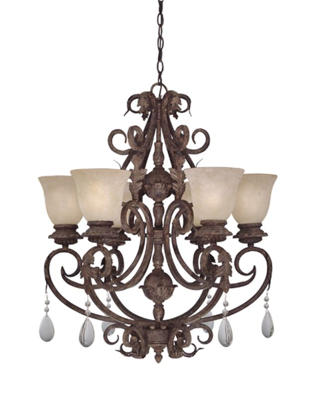 Designers fountain 91406 ao ancient oak 6 light chandelier for Oak motors san mateo
