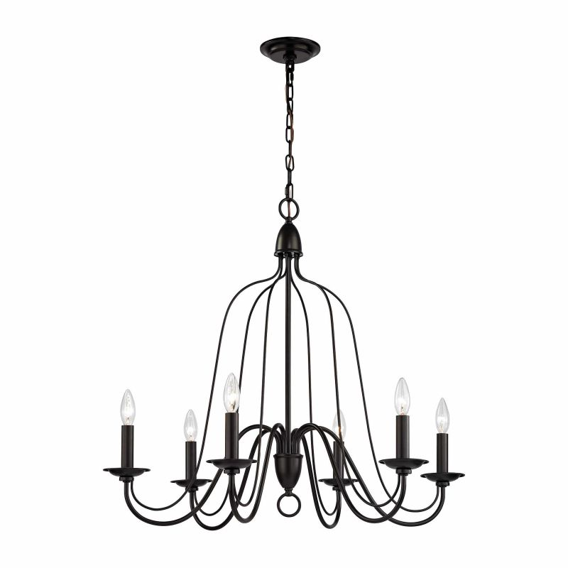 elk lighting 32162  6 oil rubbed bronze 6 light 1 tier candle style cage chandelier from the