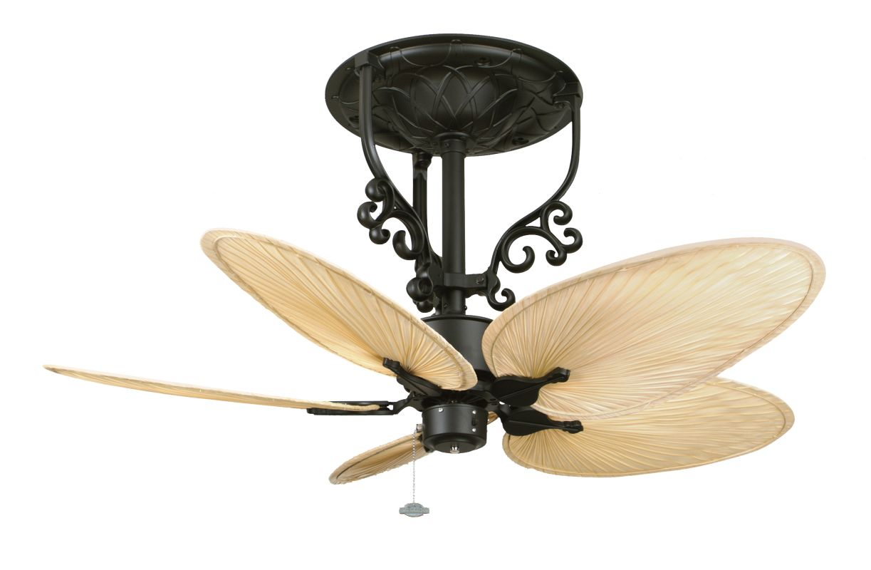 Fanimation black with natural oval palm leaf blades americana short 5 blade 52 ceiling fan - Ceiling fan short blades ...