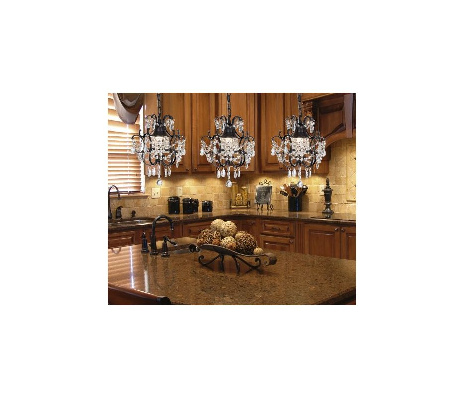 Gallery T40 185 Black Wrought Iron 1 Light 1 Tier Crystal