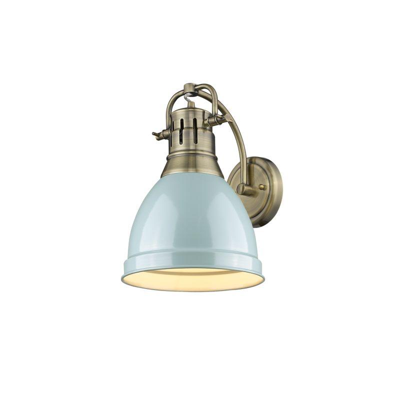 Golden Lighting 3602 1W AB SF Aged Brass Seafoam Duncan Single Light 11 Quo