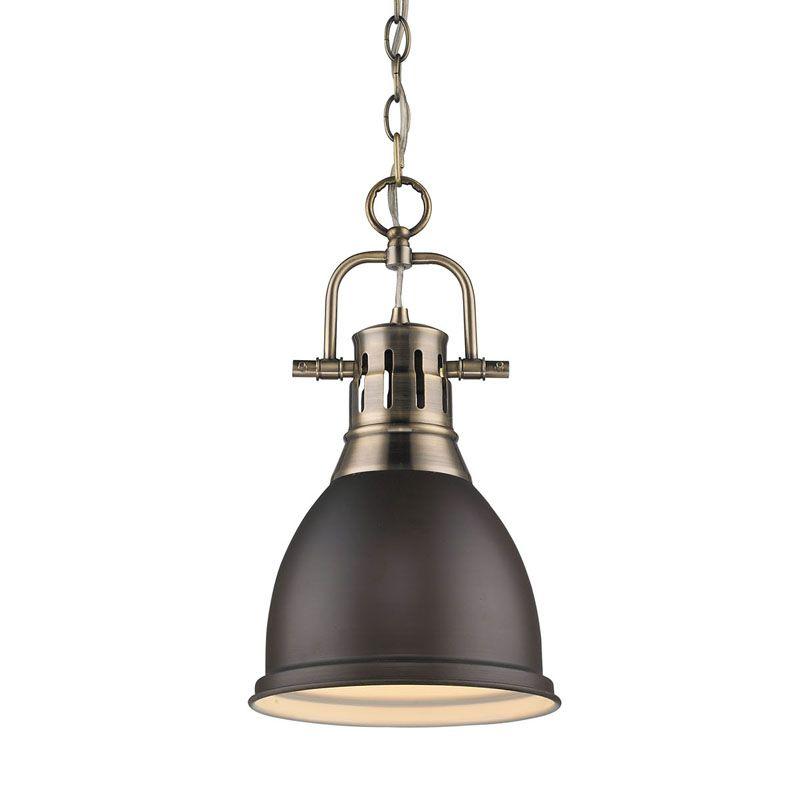 Golden Lighting 3602 S AB RBZ Aged Brass Duncan 1 Light Indoor Pendant