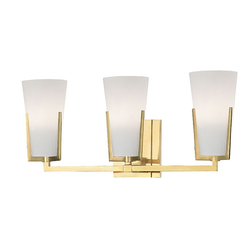 Hudson Valley Lighting 1803-AGB Aged Brass Upton 3 Light 19u0026quot; Bathroom Vanity Light with Frosted ...