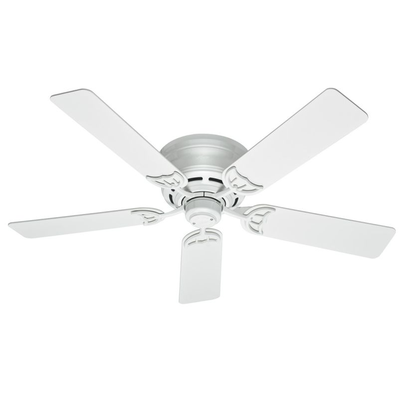 """High Quality Loews Ceiling Fans 3 Hunter Ceiling Fans: Hunter 53069 White 52"""" Flush Mount Indoor Ceiling Fan"""