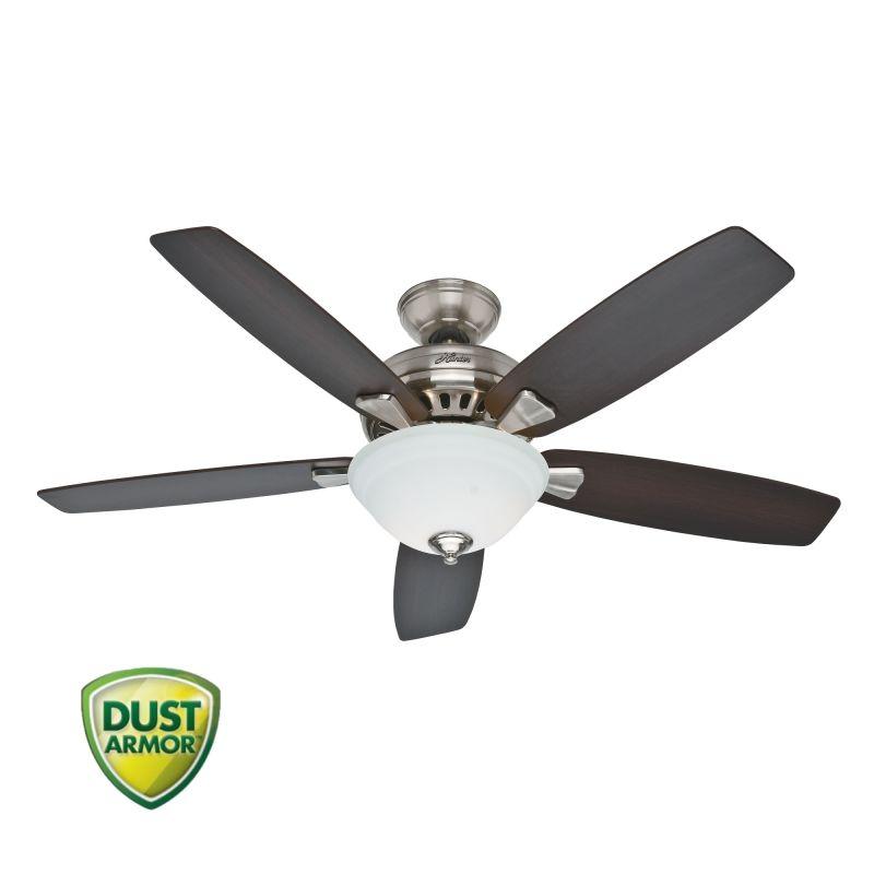 "Hunter Bluetooth Ceiling Fan: Hunter Brushed Nickel Banyan 52"" 5 Blade Ceiling Fan"
