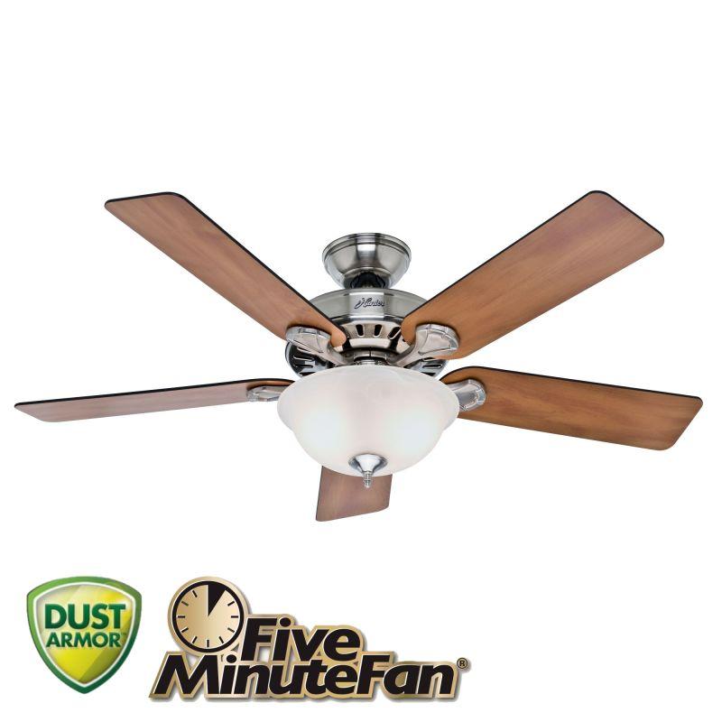 "Hunter Bluetooth Ceiling Fan: Hunter 53249 Brushed Nickel 52"" Indoor Ceiling Fan"
