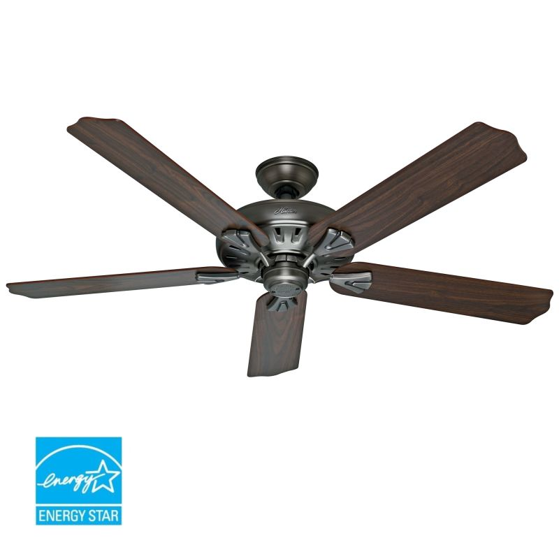 """Hunter Millican 58 Antique Pewter Ceiling Fan With Light: Hunter 54017 Antique Pewter 60"""" Energy Star Rated Indoor"""