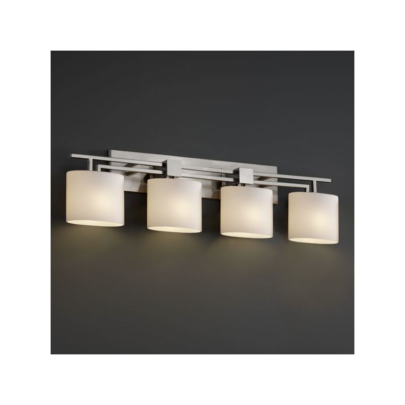 Bathroom Vanity Light Has No Junction Box : Justice Design Group FSN-8704-NCKL Brushed Nickel Aero 4 Light Bathroom Bar Fixture from the ...
