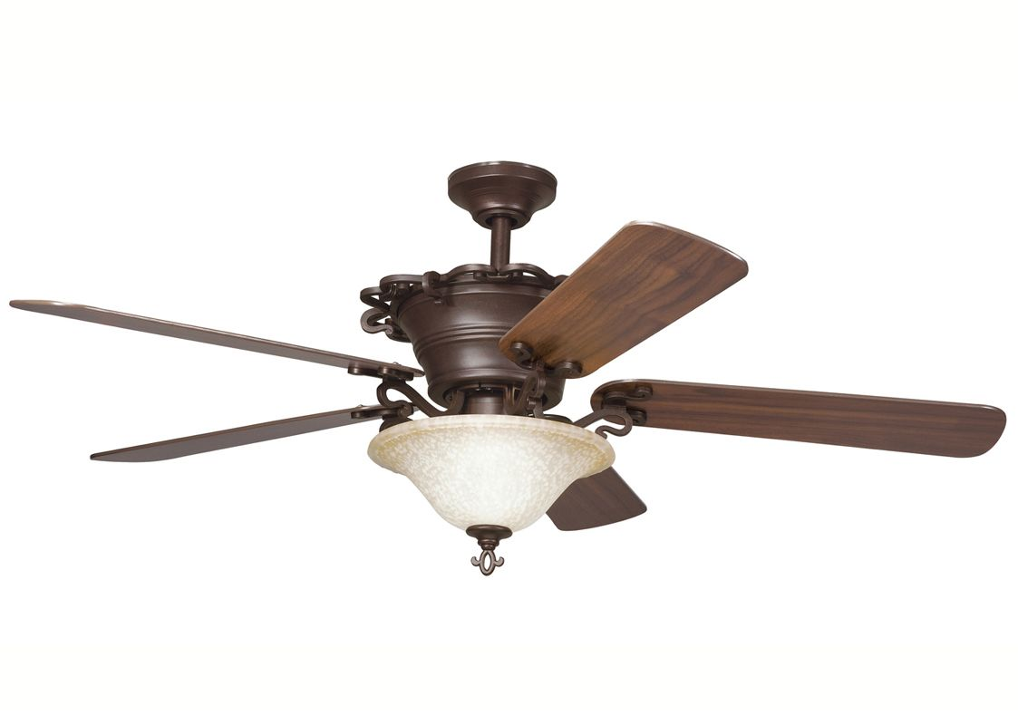 Kichler 300006CZ Carre Bronze 54u0026quot; Indoor Ceiling Fan with Blades, Light Kit, Downrod and Remote ...