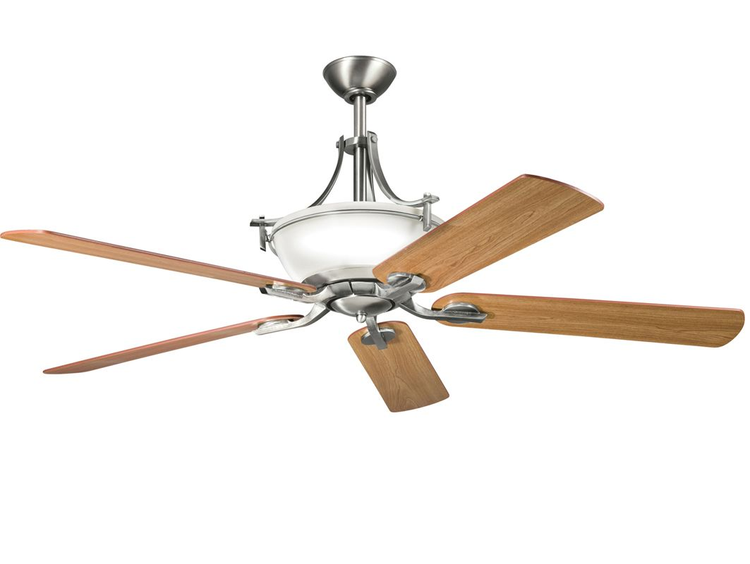"""... Pewter 60"""" Indoor Ceiling Fan with Blades, Downrod and Remote Control"""