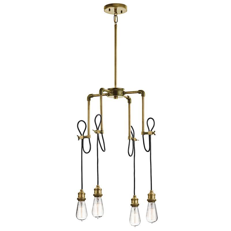 kichler 43587nbr natural brass rumer vintage industrial chandelier with 4 lights
