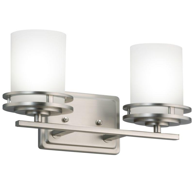 Kichler 5077NI Brushed Nickel Hendrik 2 Light 15u0026quot; Wide Vanity Light Bathroom Fixture with Satin ...