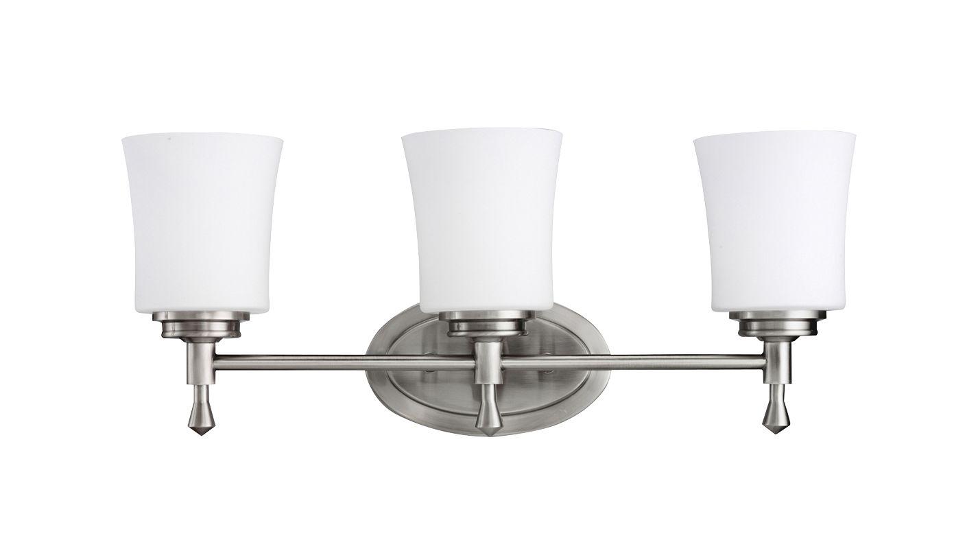 "New 3 Light Bathroom Vanity Lighting Fixture Brushed: Kichler 5361NI Brushed Nickel Wharton 22"" Wide 3-Bulb"