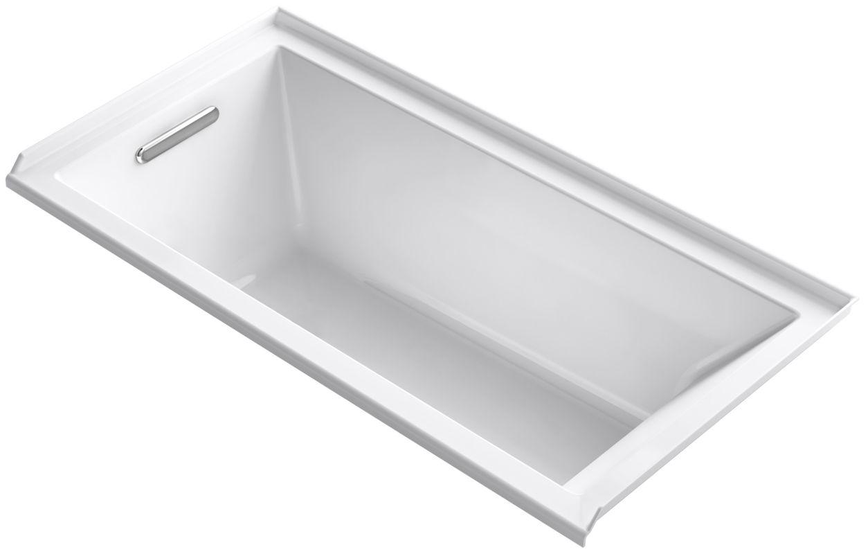 Kohler K 1121 L 0 White Underscore 60 Quot Soaking Tub With Left Drain Faucetdirect Com