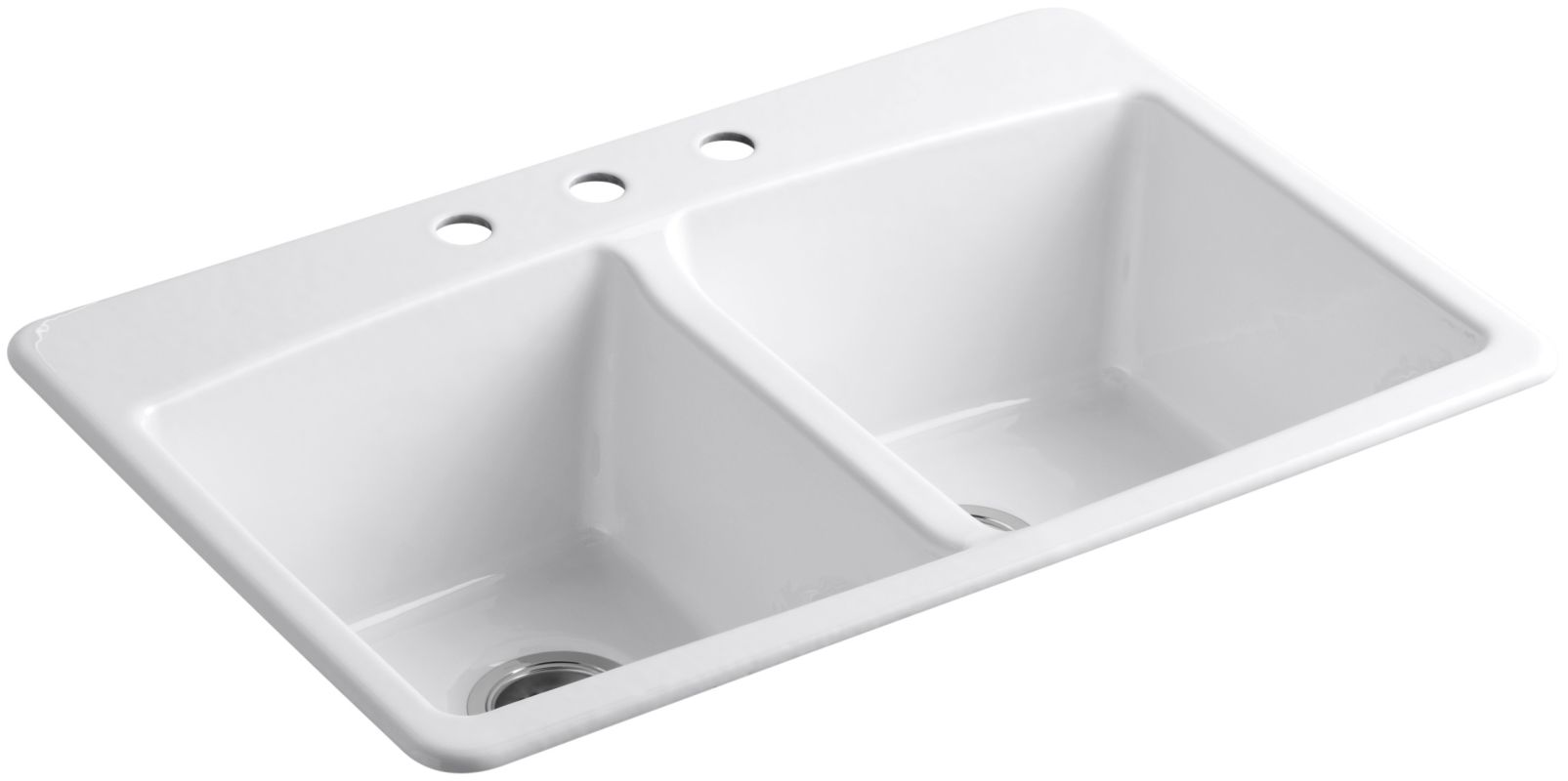 Kohler K 5846 3 0 White Brookfield 33 Quot Double Basin Top