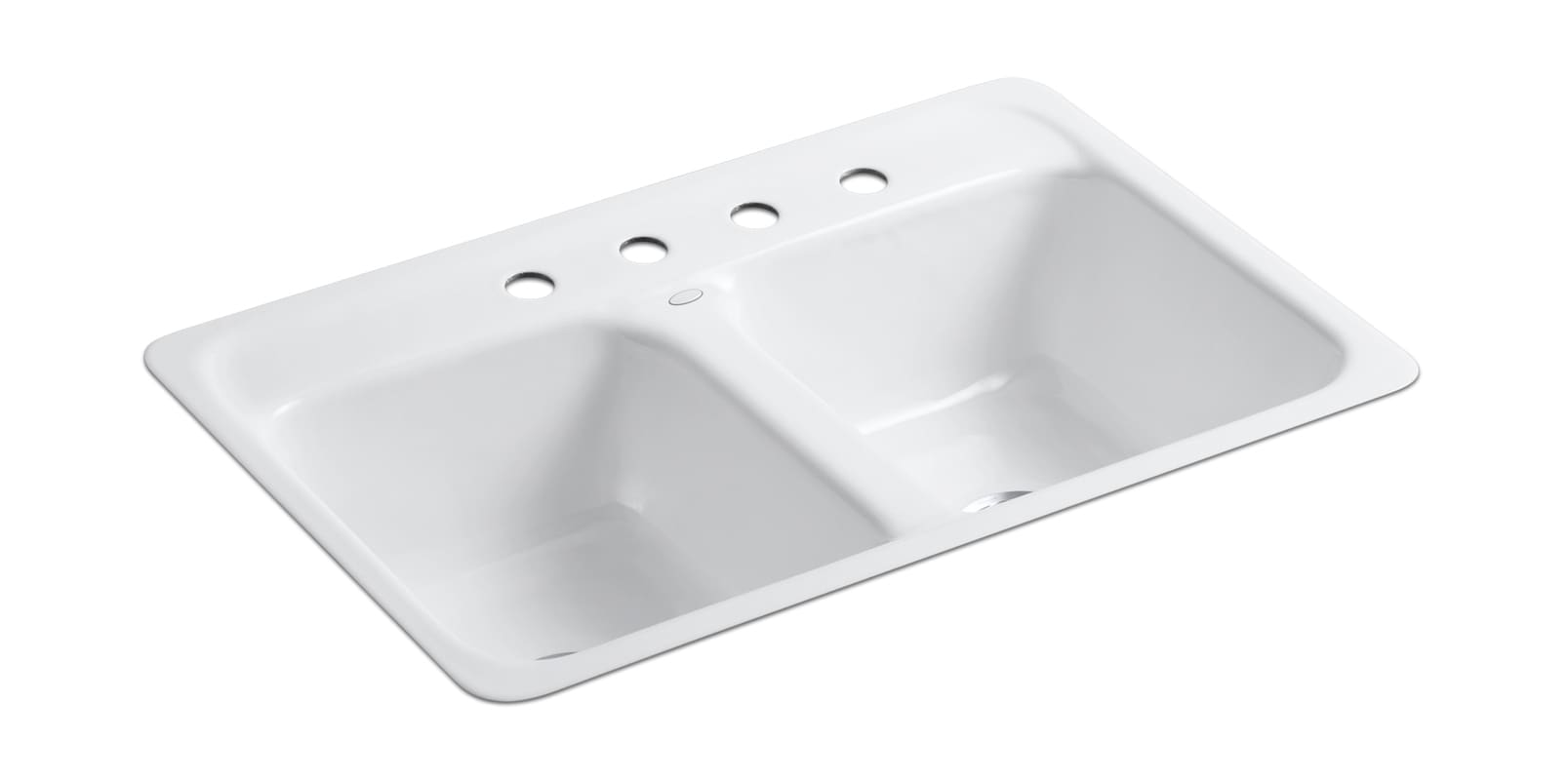 Kohler k 5950 4 0 white delafield 32 double basin tile in enameled cast iron kitchen sink - Cast iron sink weight ...