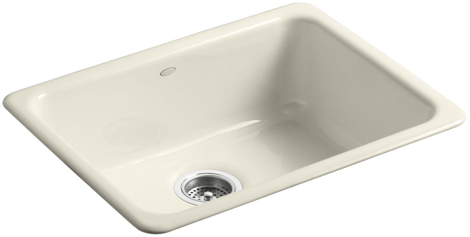 Undermount Kitchen Sink With Faucet Holes Kohler K 6585 47 Almond Iron Tones 24 Quot Single Basin Top