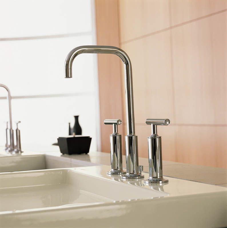 Kohler Purist Widespread Faucet Best Home Fixtures Images Pictures Gold Bathroom Sink