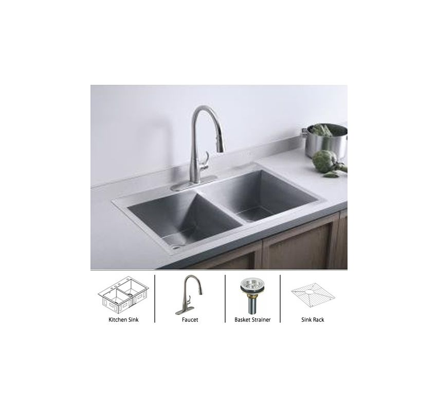 Kohler Stainless Sink / Stainless Basket Strainer Complete Kitchen ...