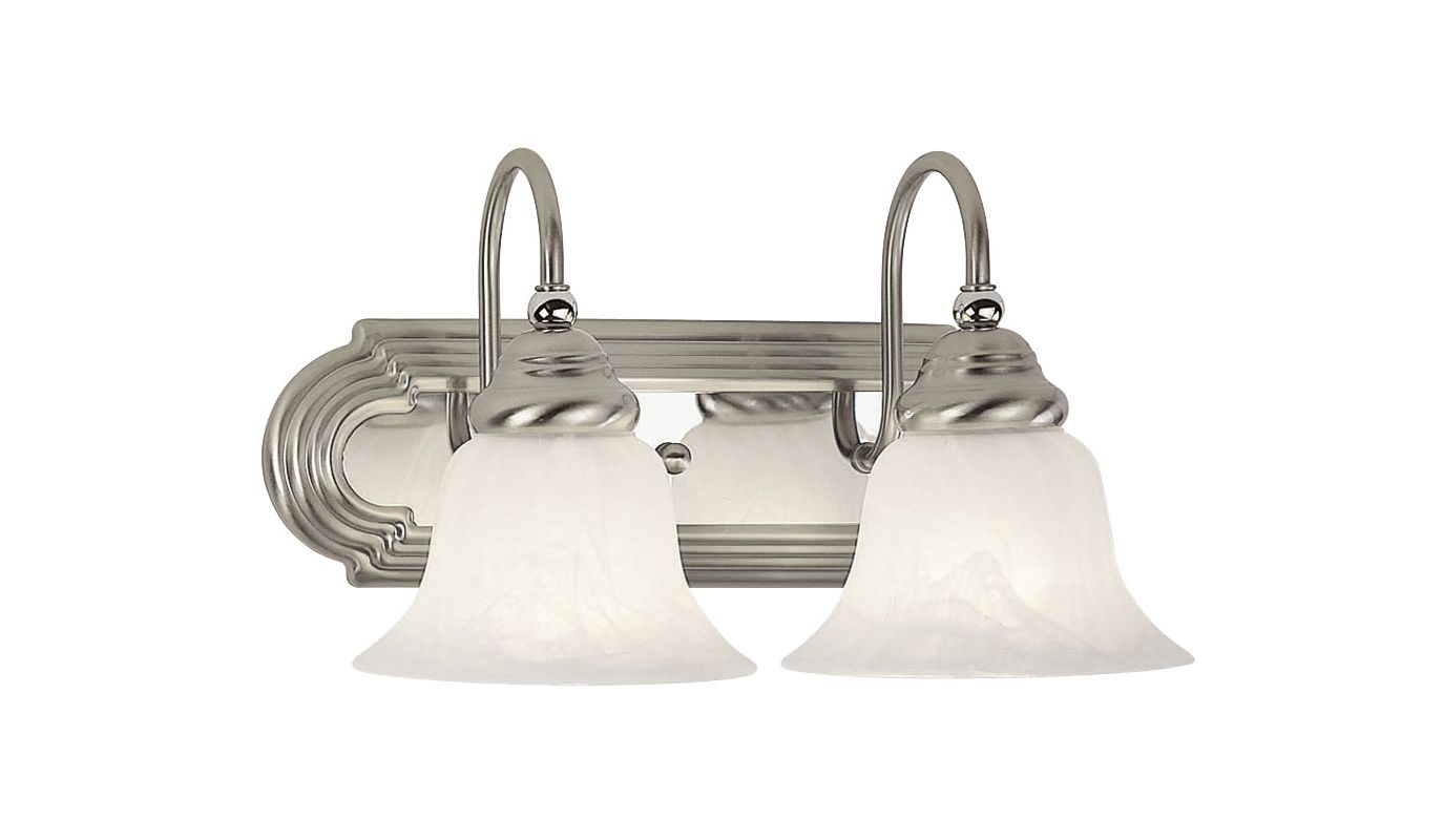 Mount Vanity Light Up Or Down : Livex Lighting 1002-95 Brushed Nickel/Chrome Belmont 2 Light Bathroom Vanity Light ...