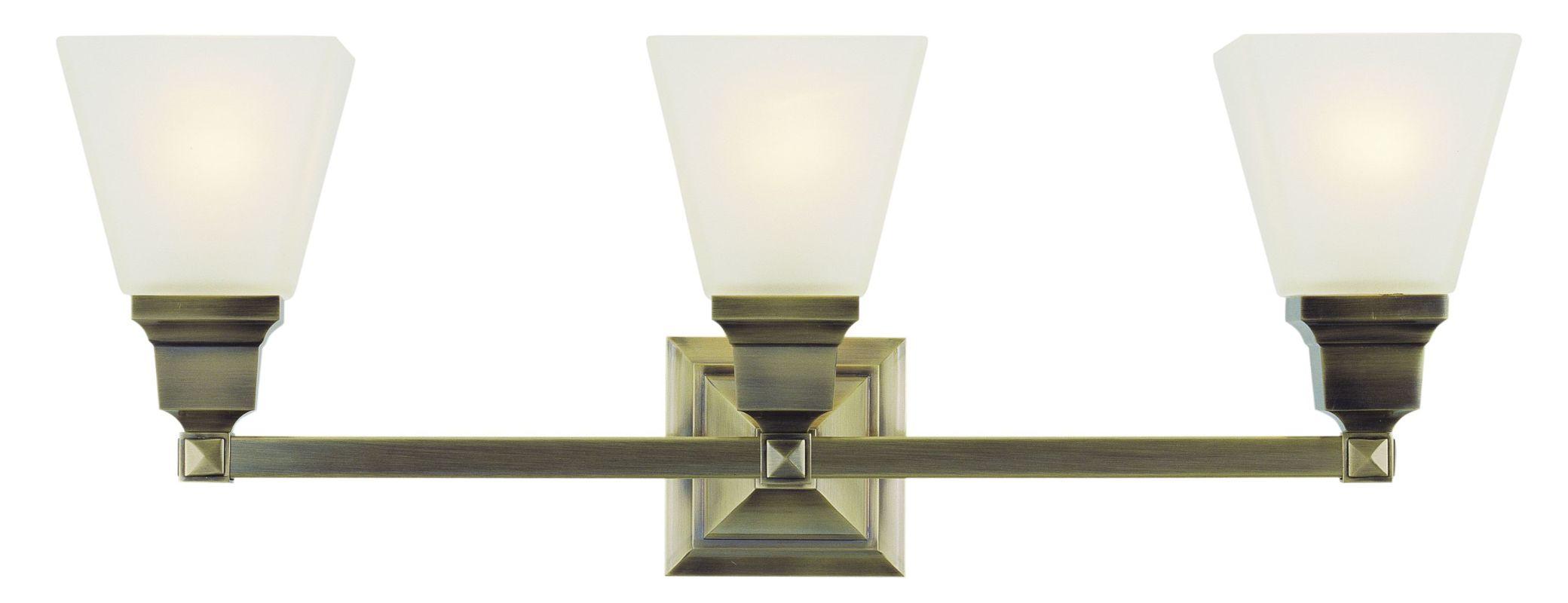 New 3 Light Bathroom Vanity Lighting Fixture Antique Brass: Livex Lighting 1033-01 Antique Brass Mission 3 Light