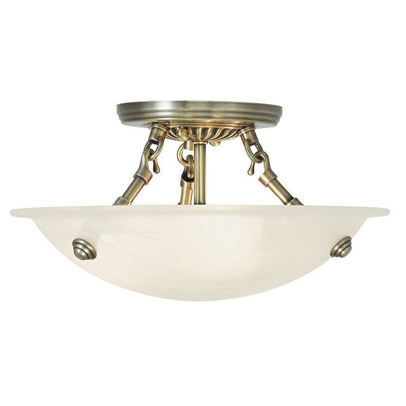Livex Lighting Two One Antique Brass Oasis Three Light Semi Flush Ceiling Fixture Lightingdirect Com
