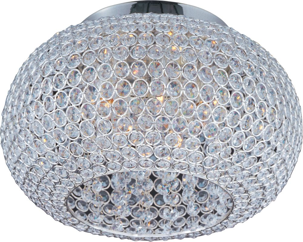 Maxim 39875BCPS Plated Silver / Beveled Crystal 5 Light 15u0026quot; Wide Flush Mount Ceiling Fixture ...