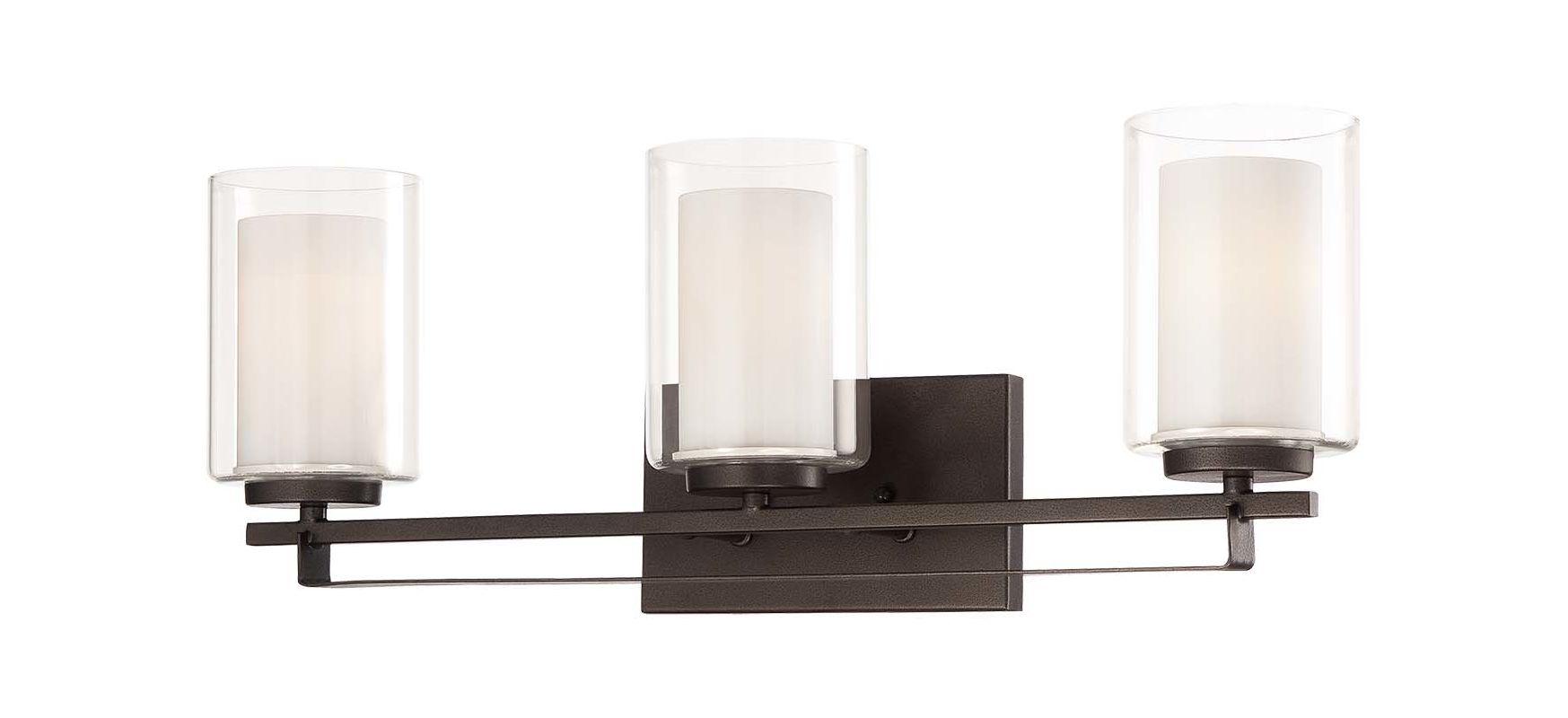 Portfolio 3 Light 22 In Brushed Nickel Bowl Vanity Light: Minka Lavery 6103-172 Smoked Iron 3 Light Bathroom Vanity