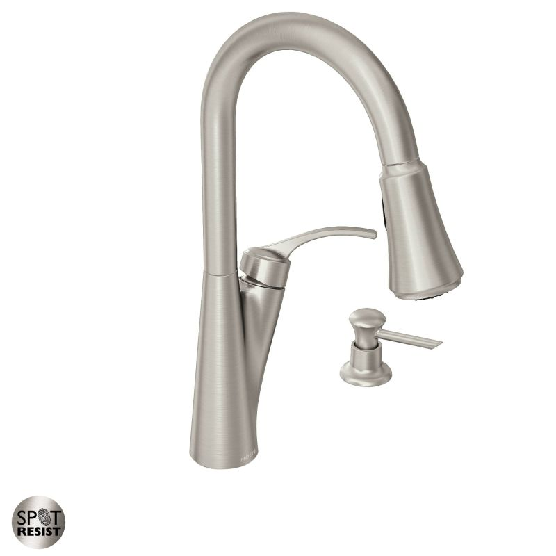 moen 87407srs spot resist stainless pullout spray high arc