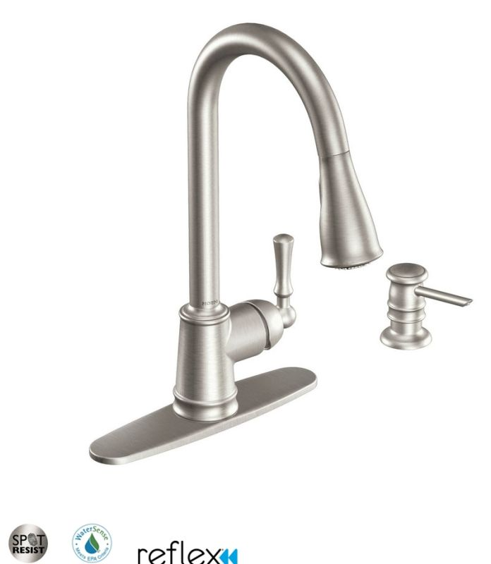 moen ca87020srs spot resist stainless kitchen faucet with