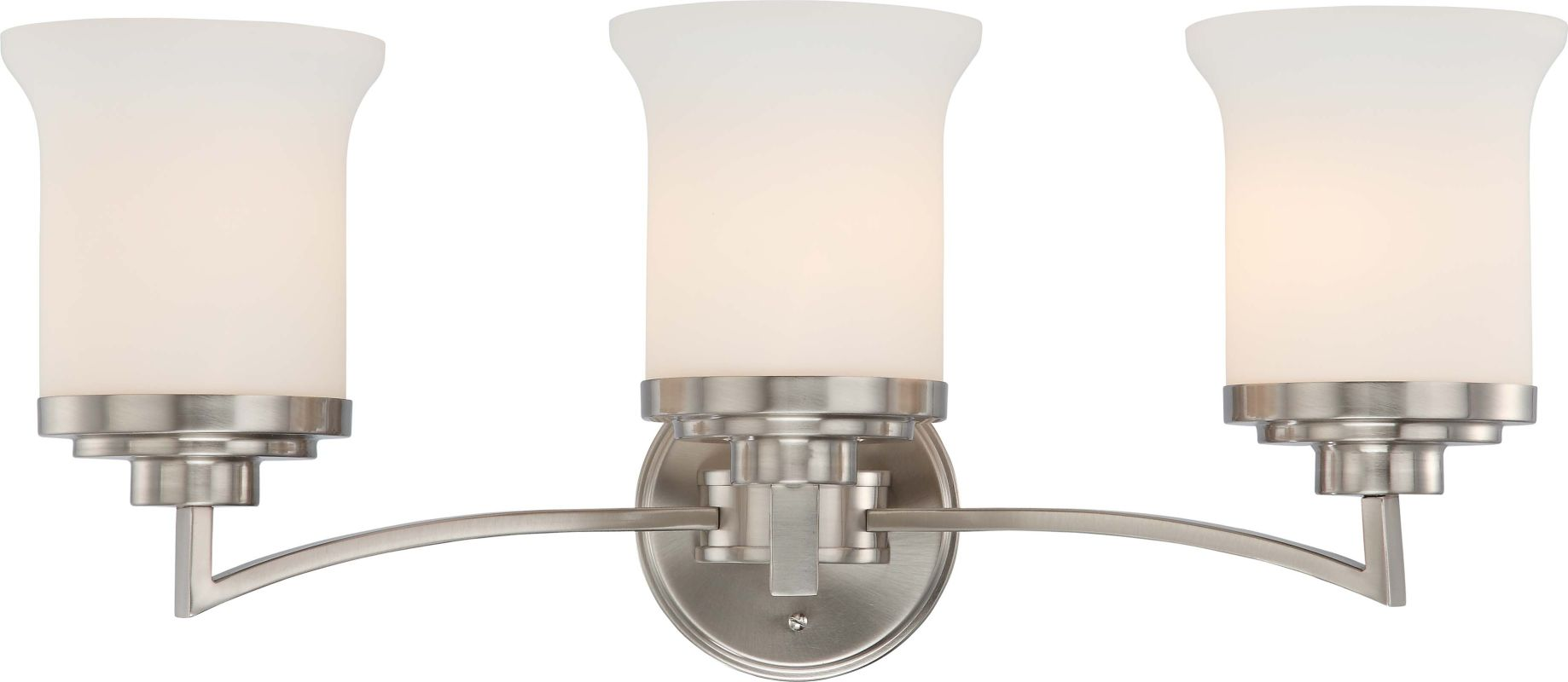 Mount Vanity Light Up Or Down : Nuvo Lighting 60/4103 Brushed Nickel Harmony Three Light Bathroom Fixture with Satin White Glass ...