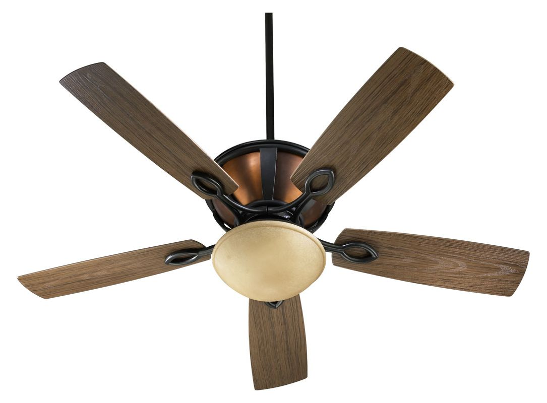Quorum International 141525-995 Old World with Copper 52u0026quot; Outdoor 5-Blade Patio Ceiling Fan for ...