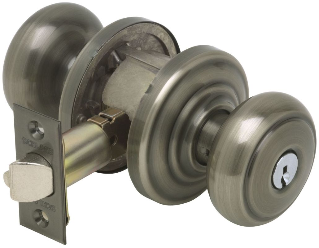 Schlage F51aand620and Antique Pewter Andover Keyed Entry