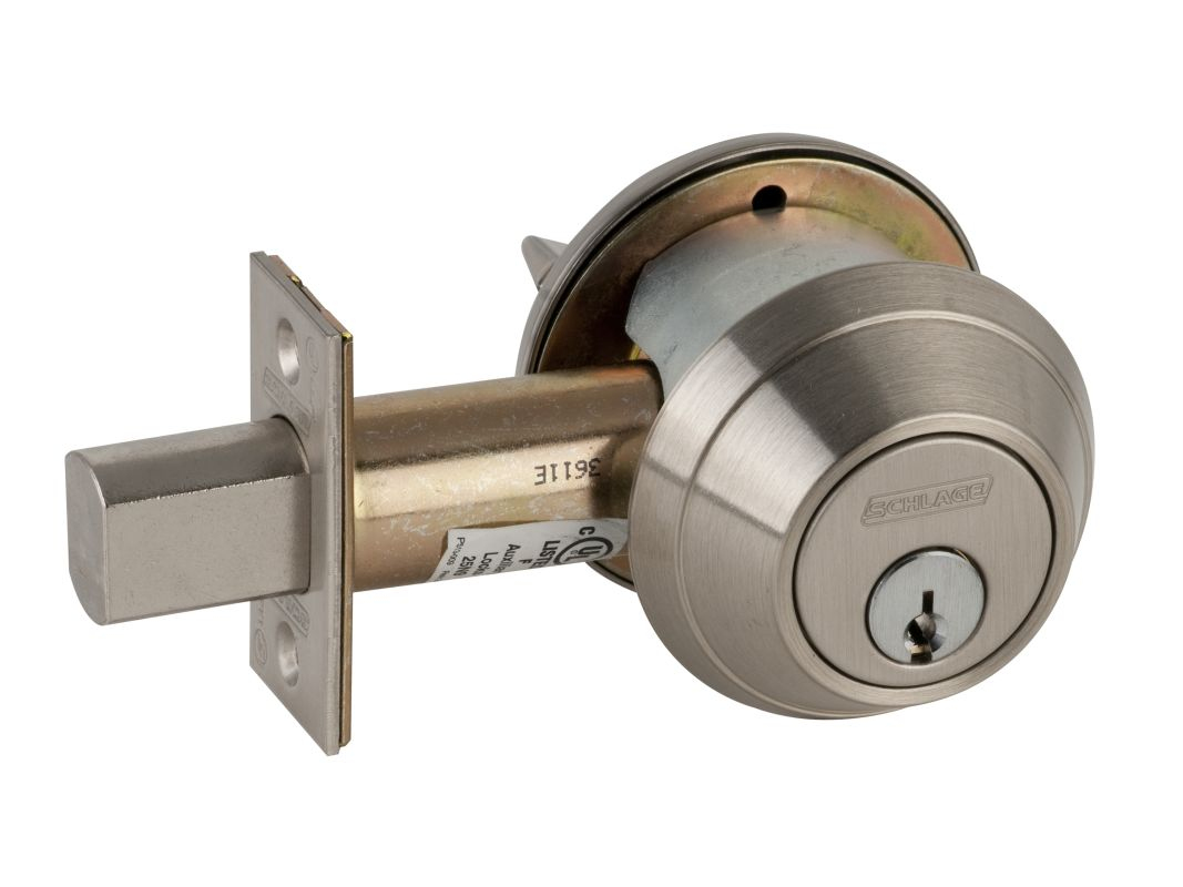 Schlage B660619 Satin Nickel Single Cylinder Deadbolt B600