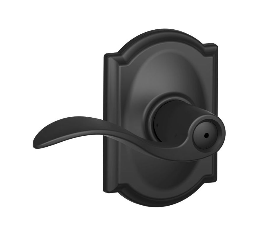 Schlage F40acc622cam Matte Black Accent Privacy Door Lever