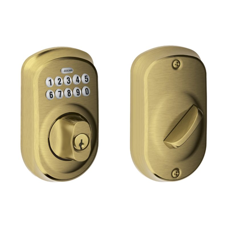 Schlage Be365ply609 Antique Brass Plymouth Electronic