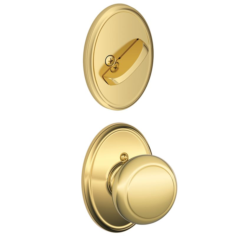 Schlage F59and605wkf Polished Brass Andover Single