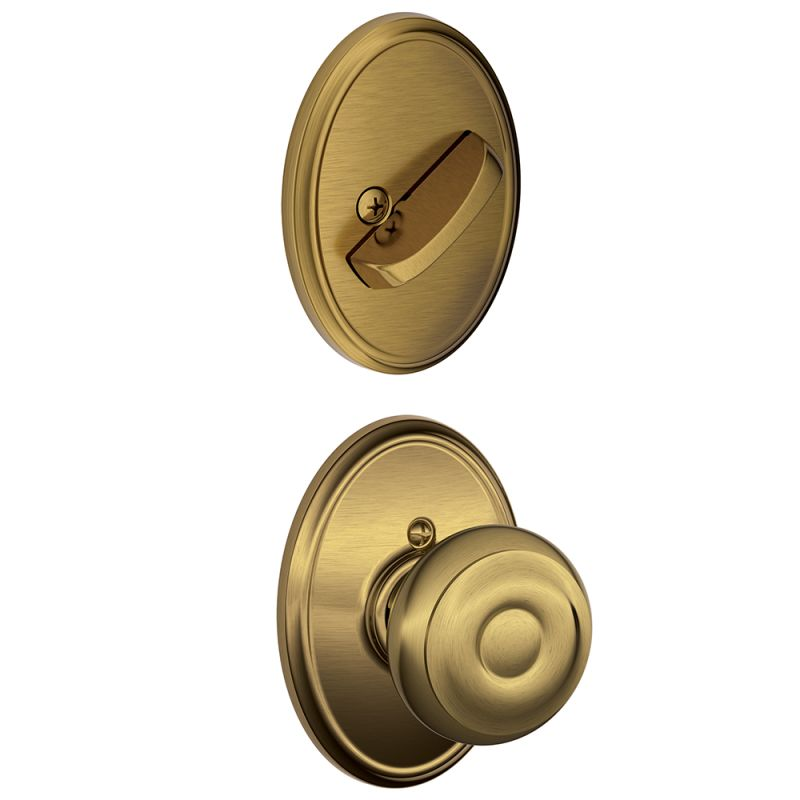 Schlage F59geo609wkf Antique Brass Georgian Single