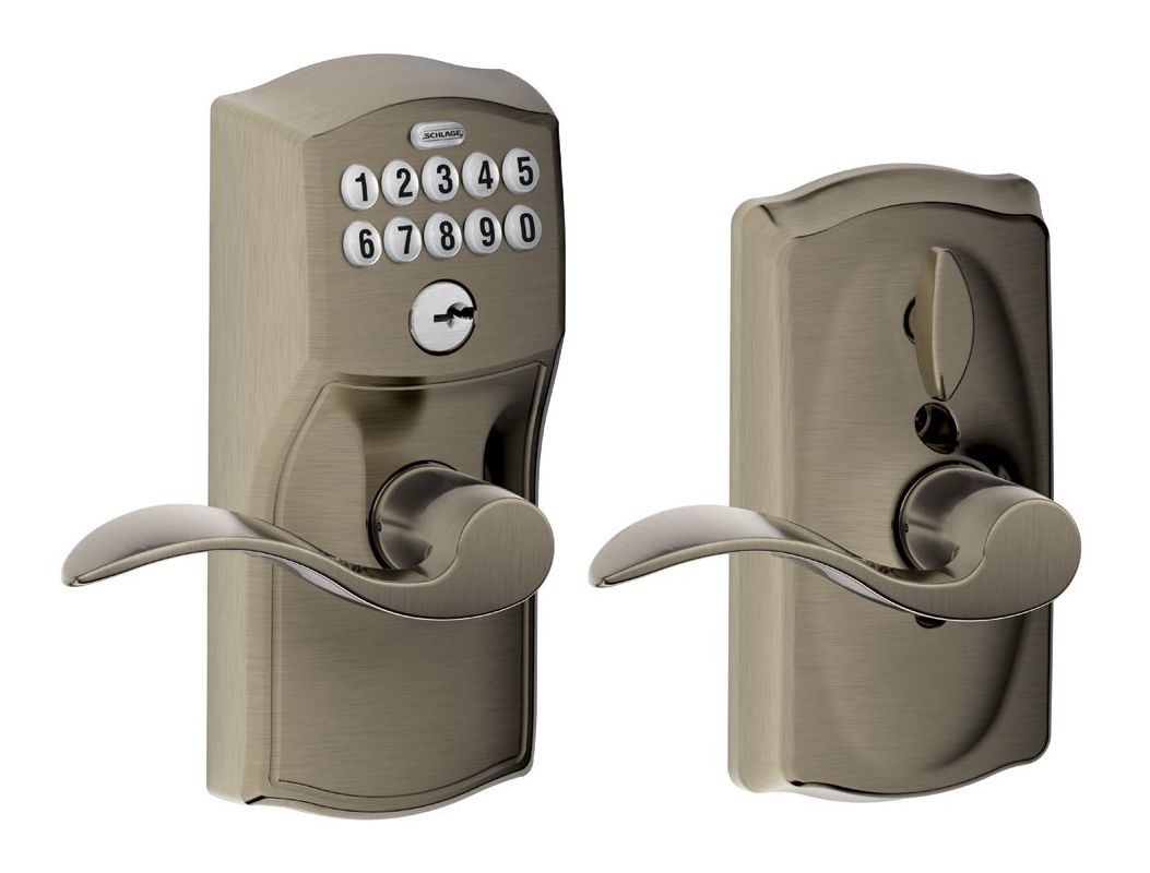 Schlage Fe595cam620acc Antique Pewter Camelot Keypad Entry