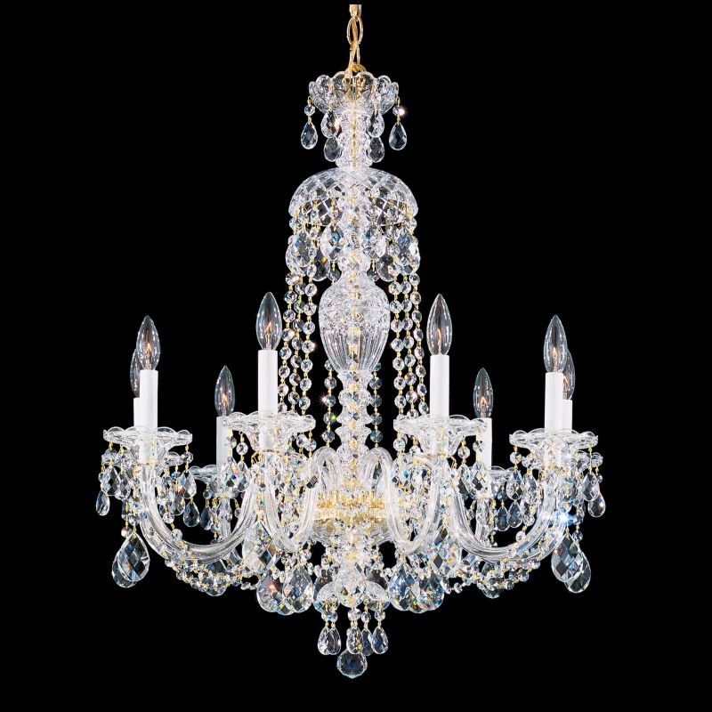 Schonbek Six  Polished Silver  Light Candle Style Chandelier From The Sterling