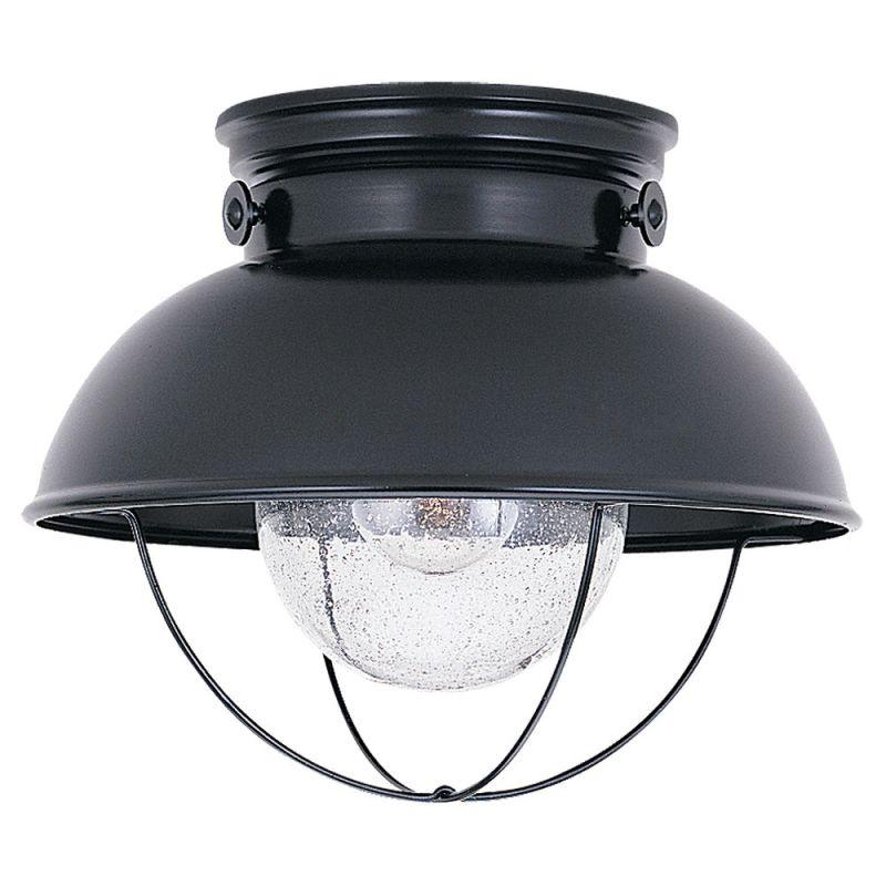 Wall Sconce Rough In Height : Sea Gull Lighting 8869-12 Black Sebring 1 Light Outdoor Flush Mount Ceiling Fixture ...